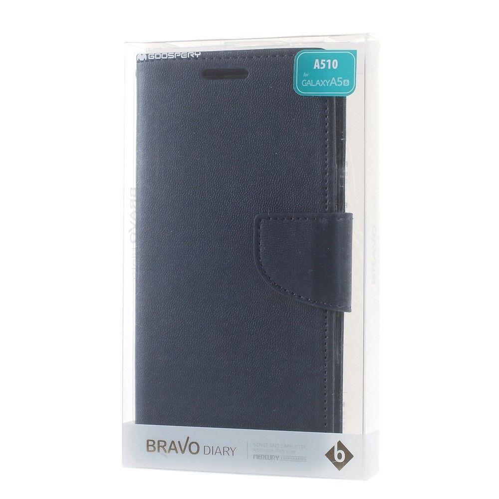 Mercury Bravo Diary Samsung Galaxy A5 2016 A510 Dark Goospery Canvas Case Gray Blue